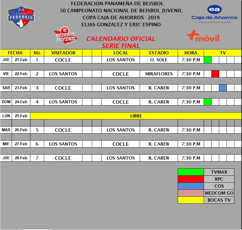 Calendario Final 2019.Calendario Oficial Ronda Final Fedebeis