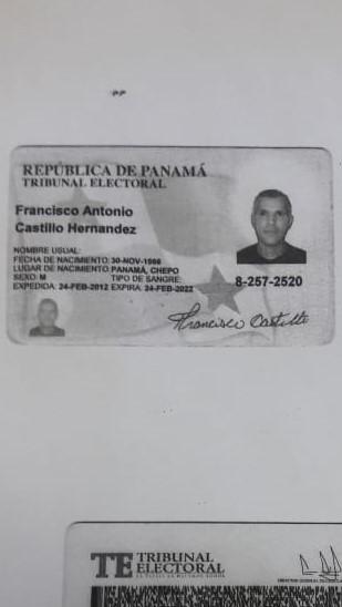 Cedula de francisco Castillo